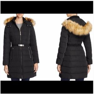 kate spade Belted Faux Fur Trim Down Coat jacket